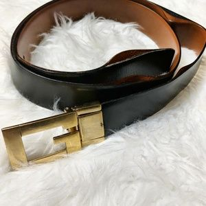 Gucci Black Leather G Buckle Belt 41""
